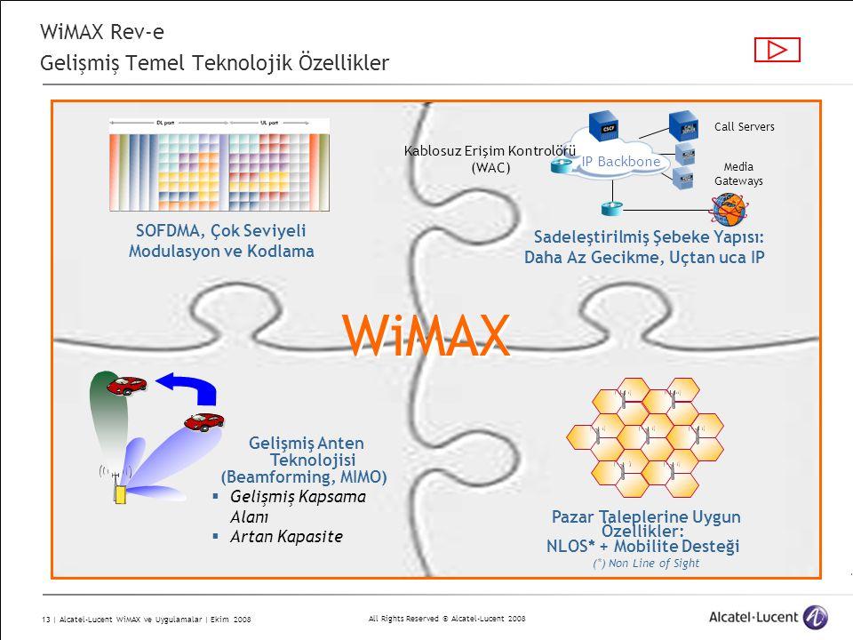 All Rights Reserved © Alcatel-Lucent 2008 13 | Alcatel-Lucent WiMAX ve Uygulamalar | Ekim 2008 IP Backbone Kablosuz Erişim Kontrolörü (WAC) Media Gateways Call Servers SOFDMA, Çok Seviyeli Modulasyon ve Kodlama Pazar Taleplerine Uygun Özellikler: NLOS* + Mobilite Desteği (*) Non Line of Sight Sadeleştirilmiş Şebeke Yapısı: Daha Az Gecikme, Uçtan uca IP Gelişmiş Anten Teknolojisi (Beamforming, MIMO)  Gelişmiş Kapsama Alanı  Artan Kapasite WiMAX WiMAX Rev-e Gelişmiş Temel Teknolojik Özellikler