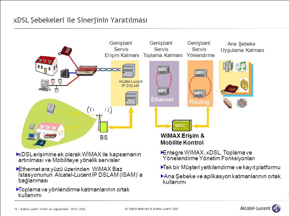 All Rights Reserved © Alcatel-Lucent 2008 15 | Alcatel-Lucent WiMAX ve Uygulamalar | Ekim 2008 xDSL Şebekeleri ile Sinerjinin Yaratılması Genişbant Servis Yönlendirme 7750 SR Genişbant Servis Toplama Katmanı 7450 ESS Routing Ana Şebeke Uygulama Katmanı 7450 Ethernet WAC BS WiMAX Erişim & Mobilite Kontrol Genişbant Servis Erişim Katmanı Alcatel-Lucent IP DSLAM  xDSL erişimine ek olarak WİMAX ile kapsamanın artırılması ve Mobiliteye yönelik servisler  Ethernet ara yüzü üzerinden WiMAX Baz İstasyonunun Alcatel-Lucent IP DSLAM (ISAM)' a bağlanması  Toplama ve yönlendirme katmanlarının ortak kullanımı  Entegre WIMAX, xDSL, Toplama ve Yönelendirme Yönetim Fonksiyonları  Tek bir Müşteri yetkilendirme ve kayıt platformu  Ana Şebeke ve aplikasyon katmanlarının ortak kullanımı