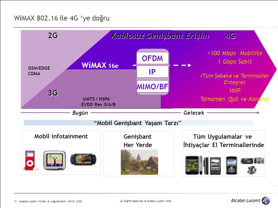 All Rights Reserved © Alcatel-Lucent 2008 17 | Alcatel-Lucent WiMAX ve Uygulamalar | Ekim 2008 WiMAX 802.16 ile 4G 'ye doğru3G Kablosuz Genişbant Erişim 4G Bugün Gelecek >100 Mbps Mobilite 1 Gbps Sabit (Tüm Şebeke ve Terminaller Entegre) VoIP Tamamen QoS ve Kontrol 2G GSM/EDGE CDMA WiMAX 16e UMTS / HSPA EVDO Rev 0/A/B 3G OFDM MIMO/BF IP Mobil Genişbant Yaşam Tarzı Mobil infotainment Genişbant Her Yerde Tüm Uygulamalar ve İhtiyaçlar El Terminallerinde
