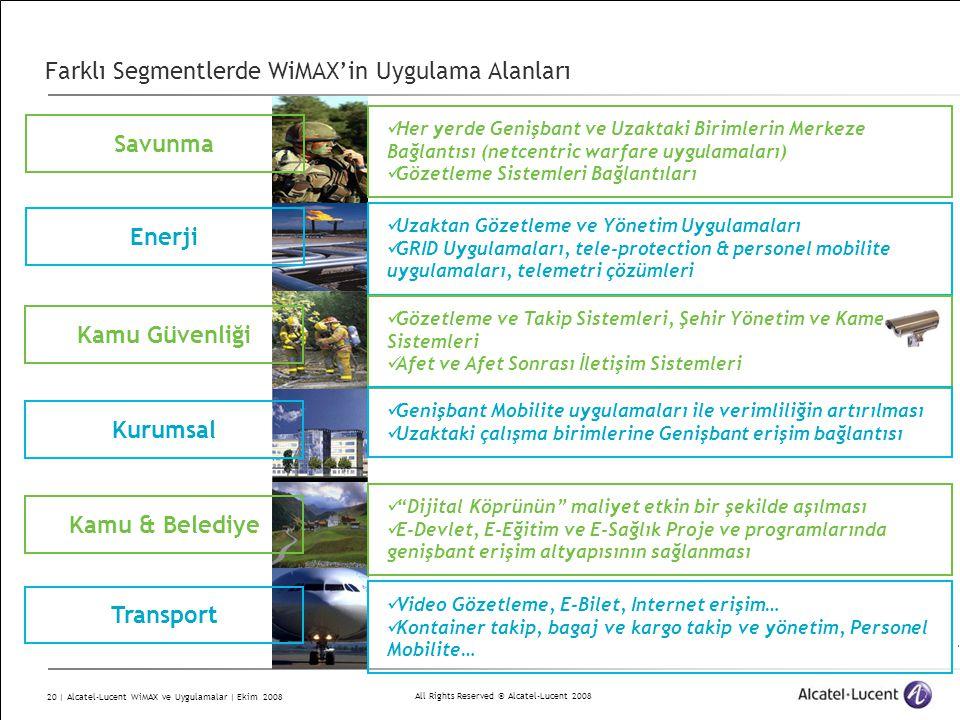 All Rights Reserved © Alcatel-Lucent 2008 20 | Alcatel-Lucent WiMAX ve Uygulamalar | Ekim 2008 Farklı Segmentlerde WiMAX'in Uygulama Alanları Savunma Enerji Kamu Güvenliği Kurumsal Her yerde Genişbant ve Uzaktaki Birimlerin Merkeze Bağlantısı (netcentric warfare uygulamaları) Gözetleme Sistemleri Bağlantıları Uzaktan Gözetleme ve Yönetim Uygulamaları GRID Uygulamaları, tele-protection & personel mobilite uygulamaları, telemetri çözümleri Gözetleme ve Takip Sistemleri, Şehir Yönetim ve Kamera Sistemleri Afet ve Afet Sonrası İletişim Sistemleri Genişbant Mobilite uygulamaları ile verimliliğin artırılması Uzaktaki çalışma birimlerine Genişbant erişim bağlantısı Transport Video Gözetleme, E-Bilet, Internet erişim… Kontainer takip, bagaj ve kargo takip ve yönetim, Personel Mobilite… Kamu & Belediye Dijital Köprünün maliyet etkin bir şekilde aşılması E-Devlet, E-Eğitim ve E-Sağlık Proje ve programlarında genişbant erişim altyapısının sağlanması