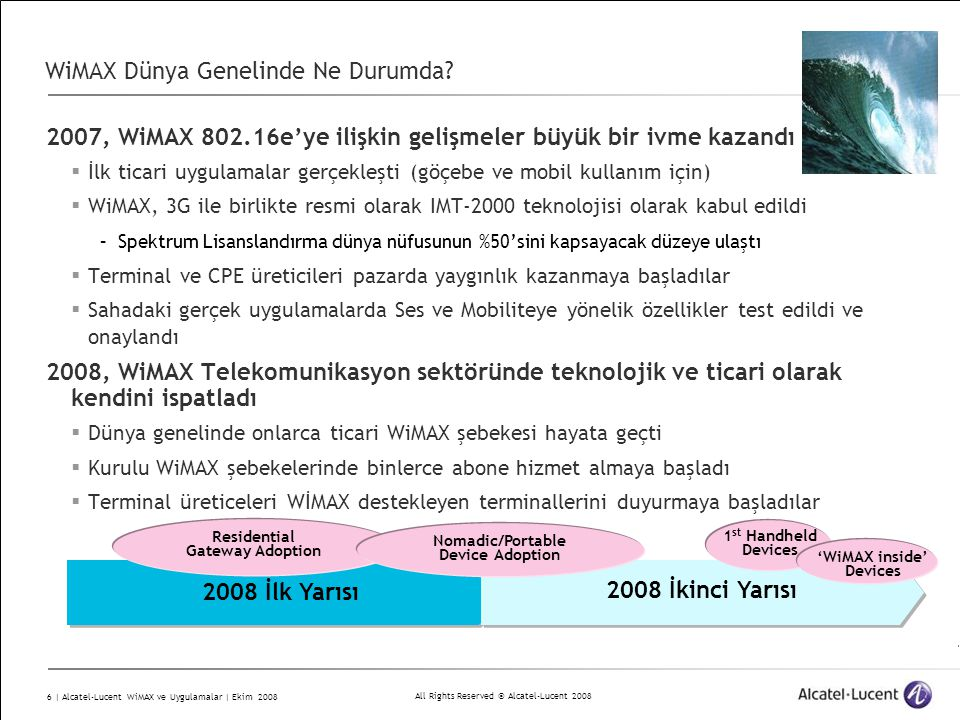 All Rights Reserved © Alcatel-Lucent 2008 6 | Alcatel-Lucent WiMAX ve Uygulamalar | Ekim 2008 WiMAX Dünya Genelinde Ne Durumda? 2007, WiMAX 802.16e'ye