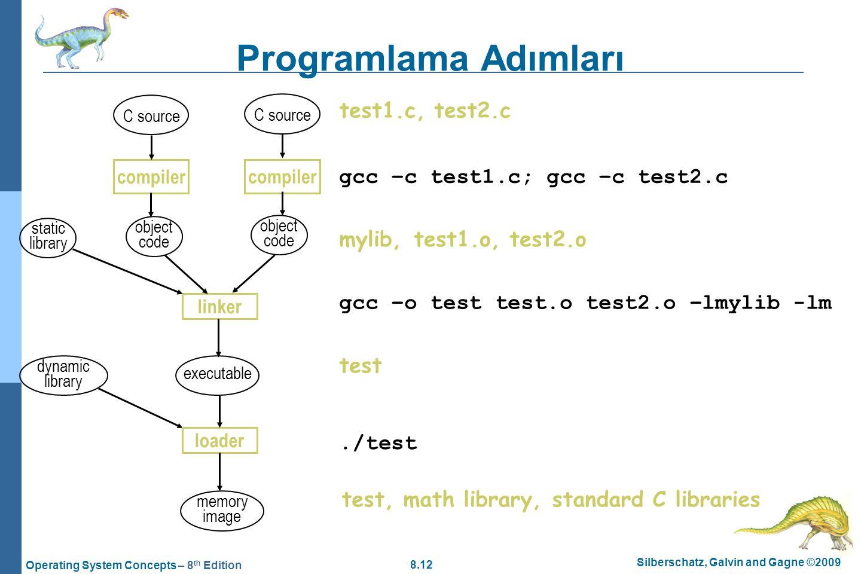 8.12 Silberschatz, Galvin and Gagne ©2009 Operating System Concepts – 8 th Edition Programlama Adımları test1.c, test2.c gcc –c test1.c; gcc –c test2.