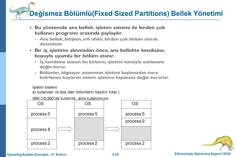 8.35 Silberschatz, Galvin and Gagne ©2009 Operating System Concepts – 8 th Edition Değismez Bölümlü(Fixed Sized Partitions) Bellek Yönetimi İşletim si