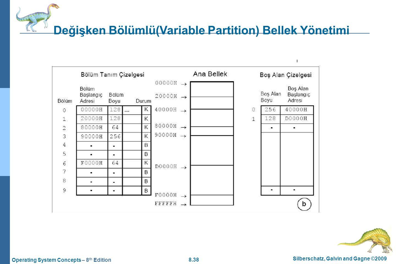 8.38 Silberschatz, Galvin and Gagne ©2009 Operating System Concepts – 8 th Edition Değişken Bölümlü(Variable Partition) Bellek Yönetimi