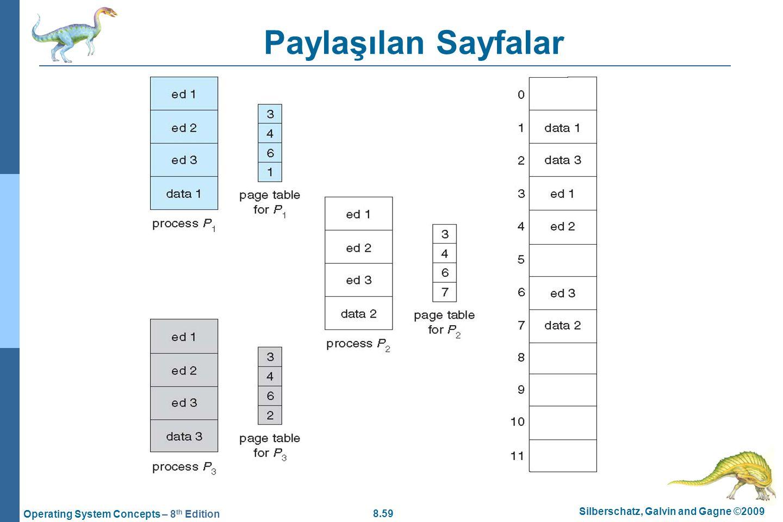 8.59 Silberschatz, Galvin and Gagne ©2009 Operating System Concepts – 8 th Edition Paylaşılan Sayfalar