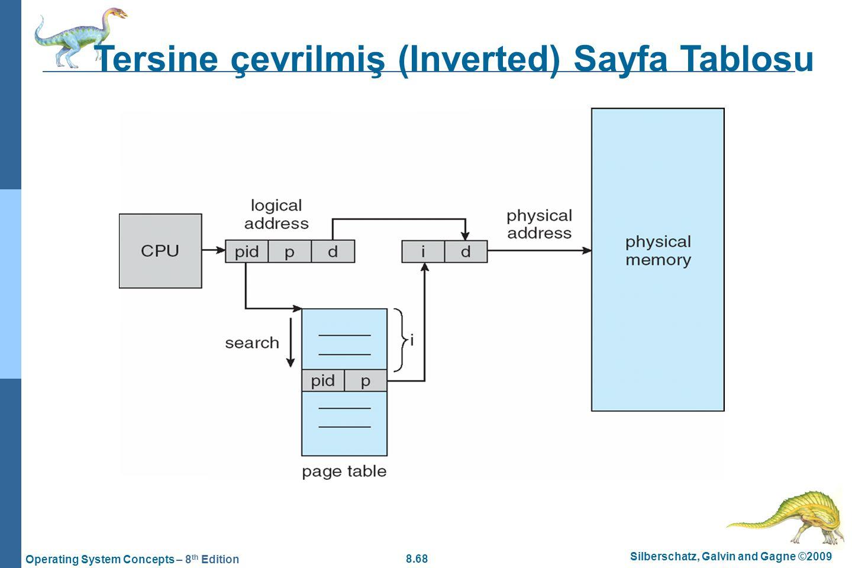 8.68 Silberschatz, Galvin and Gagne ©2009 Operating System Concepts – 8 th Edition Tersine çevrilmiş (Inverted) Sayfa Tablosu