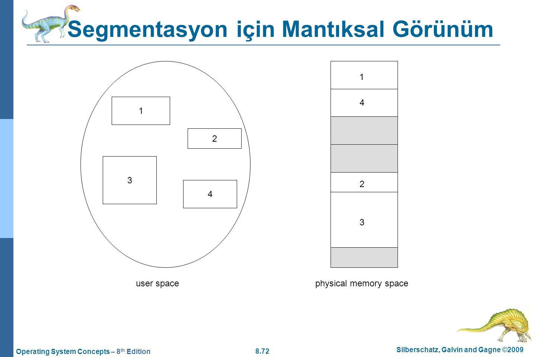 8.72 Silberschatz, Galvin and Gagne ©2009 Operating System Concepts – 8 th Edition Segmentasyon için Mantıksal Görünüm 1 3 2 4 1 4 2 3 user spacephysi