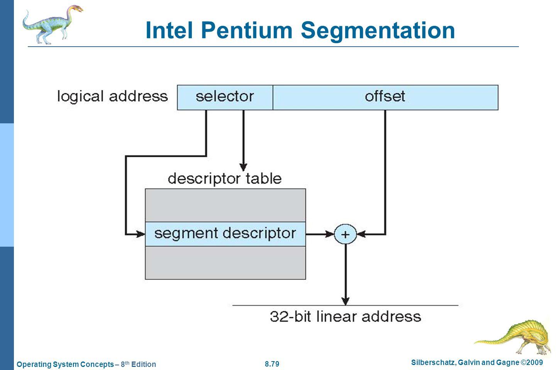 8.79 Silberschatz, Galvin and Gagne ©2009 Operating System Concepts – 8 th Edition Intel Pentium Segmentation