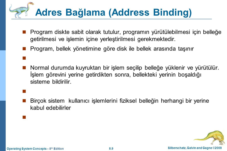 8.9 Silberschatz, Galvin and Gagne ©2009 Operating System Concepts – 8 th Edition Adres Bağlama (Address Binding) Program diskte sabit olarak tutulur,