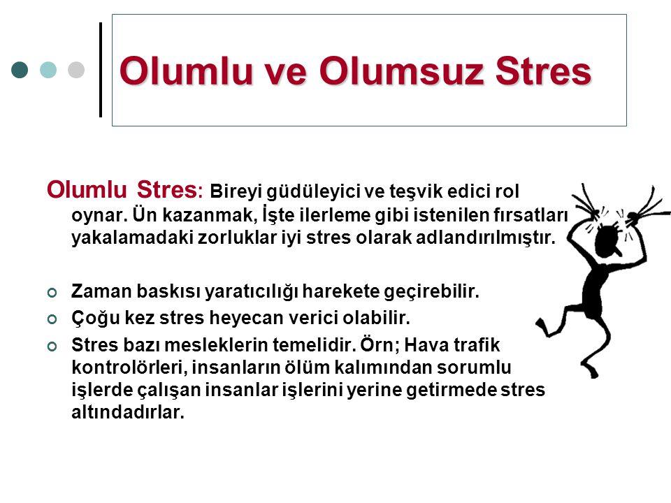 Olumsuz Stres: çok az veya çok fazla gerilim altında olunduğunda ortaya çıkar.