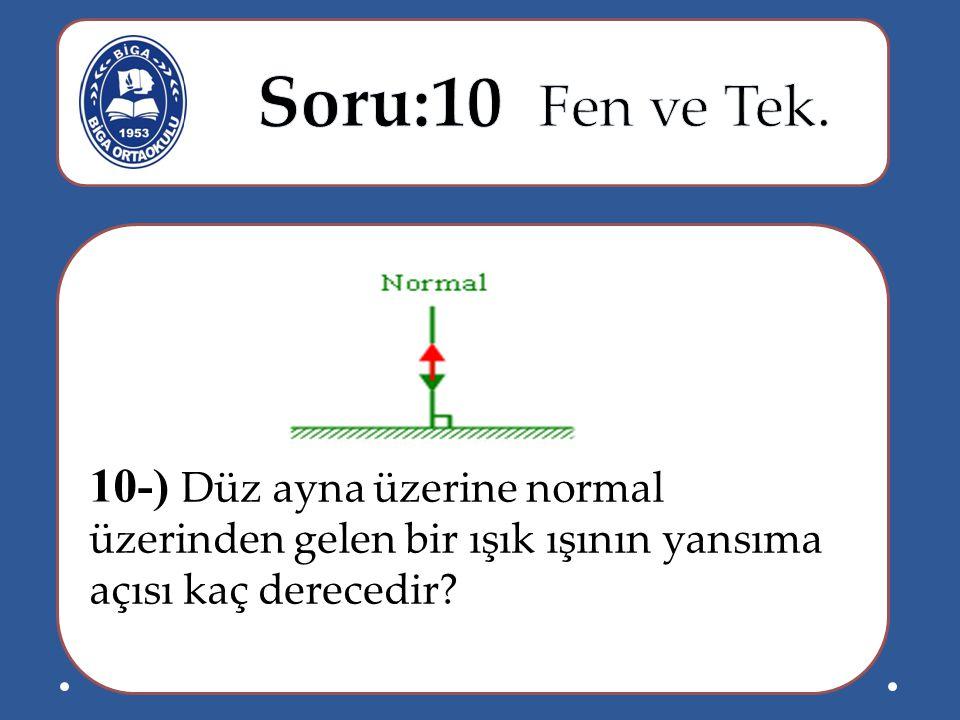 10-) Düz ayna üzerine normal üzerinden gelen bir ışık ışının yansıma açısı kaç derecedir?