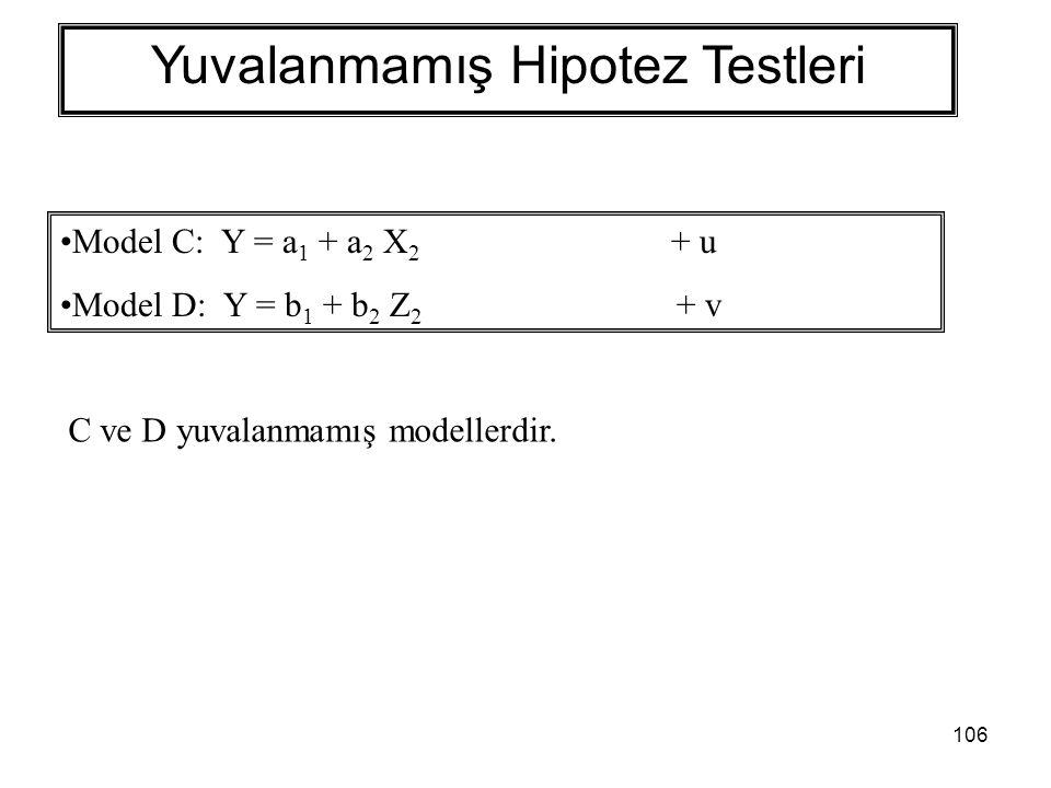 106 Yuvalanmamış Hipotez Testleri Model C: Y = a 1 + a 2 X 2 + u Model D: Y = b 1 + b 2 Z 2 + v C ve D yuvalanmamış modellerdir.