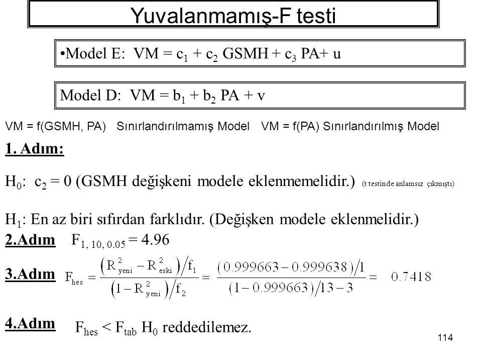 114 Yuvalanmamış-F testi 1.