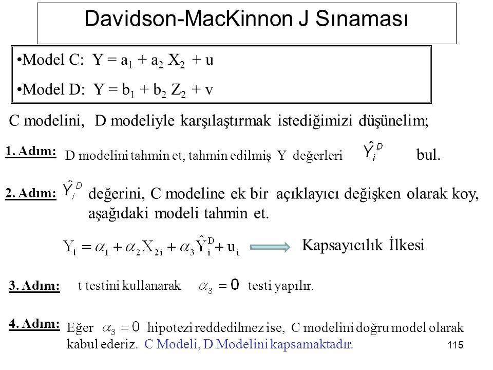 115 Davidson-MacKinnon J Sınaması C modelini, D modeliyle karşılaştırmak istediğimizi düşünelim; 1.