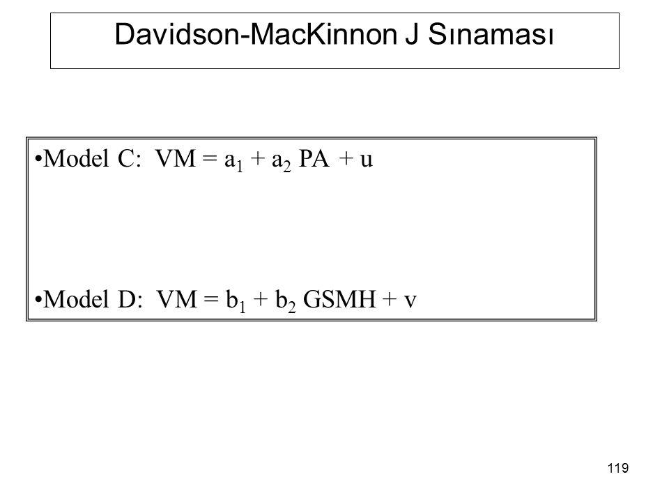 119 Davidson-MacKinnon J Sınaması Model C: VM = a 1 + a 2 PA + u Model D: VM = b 1 + b 2 GSMH + v
