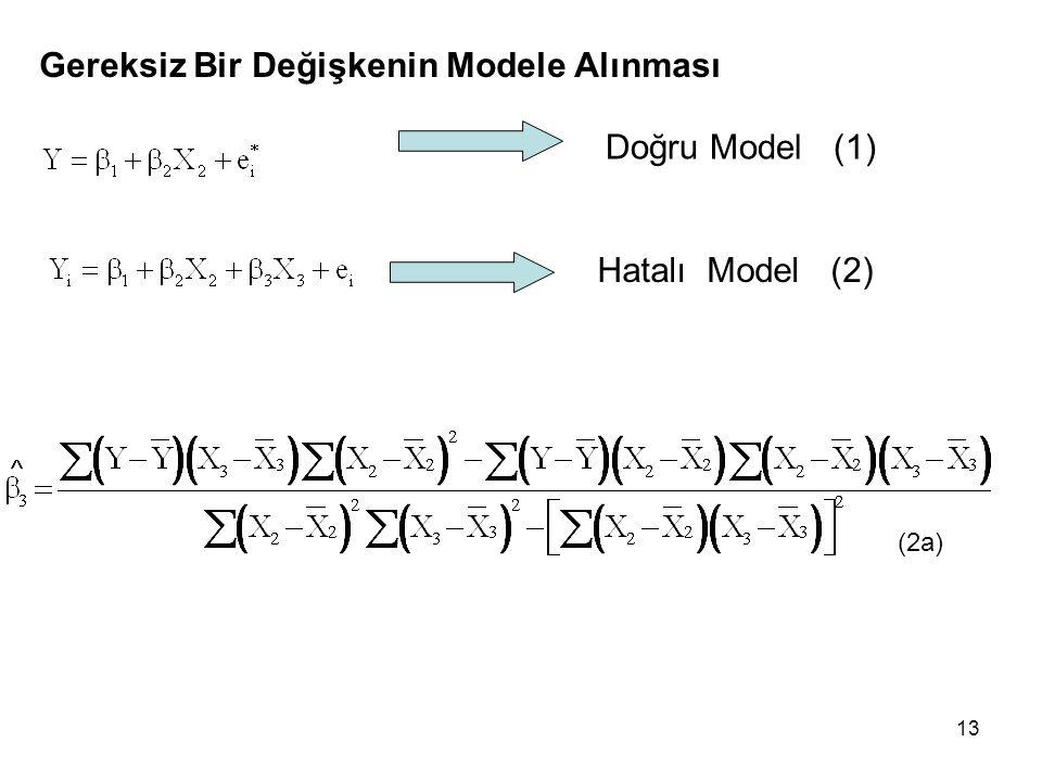 13 Gereksiz Bir Değişkenin Modele Alınması Doğru Model (1) Hatalı Model (2) (2a)