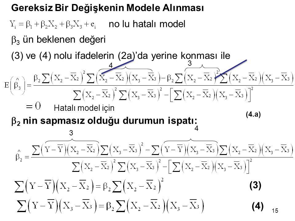 15 Gereksiz Bir Değişkenin Modele Alınması  3 ün beklenen değeri Hatalı model için no lu hatalı model (3) ve (4) nolu ifadelerin (2a)'da yerine konması ile (4.a) 4 3 3 4  2 nin sapmasız olduğu durumun ispatı: (3) (4)