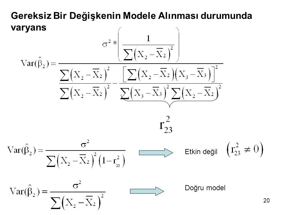 20 Gereksiz Bir Değişkenin Modele Alınması durumunda varyans Etkin değil Doğru model