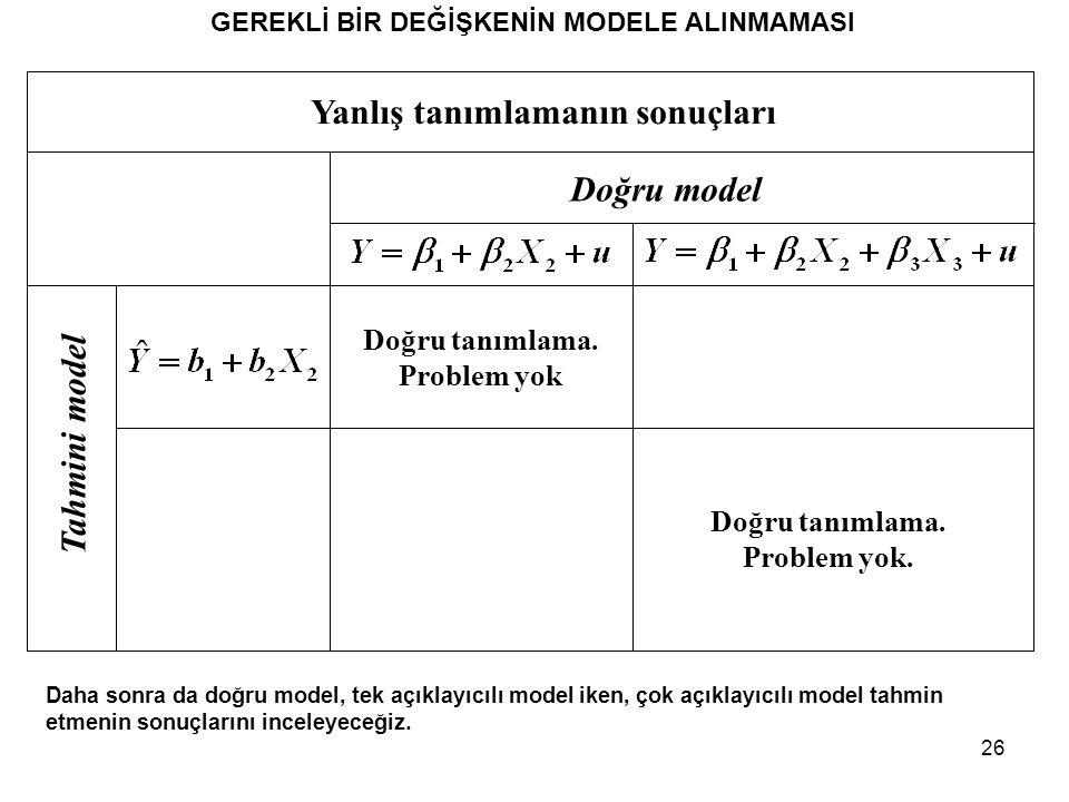 26 GEREKLİ BİR DEĞİŞKENİN MODELE ALINMAMASI Daha sonra da doğru model, tek açıklayıcılı model iken, çok açıklayıcılı model tahmin etmenin sonuçlarını inceleyeceğiz.
