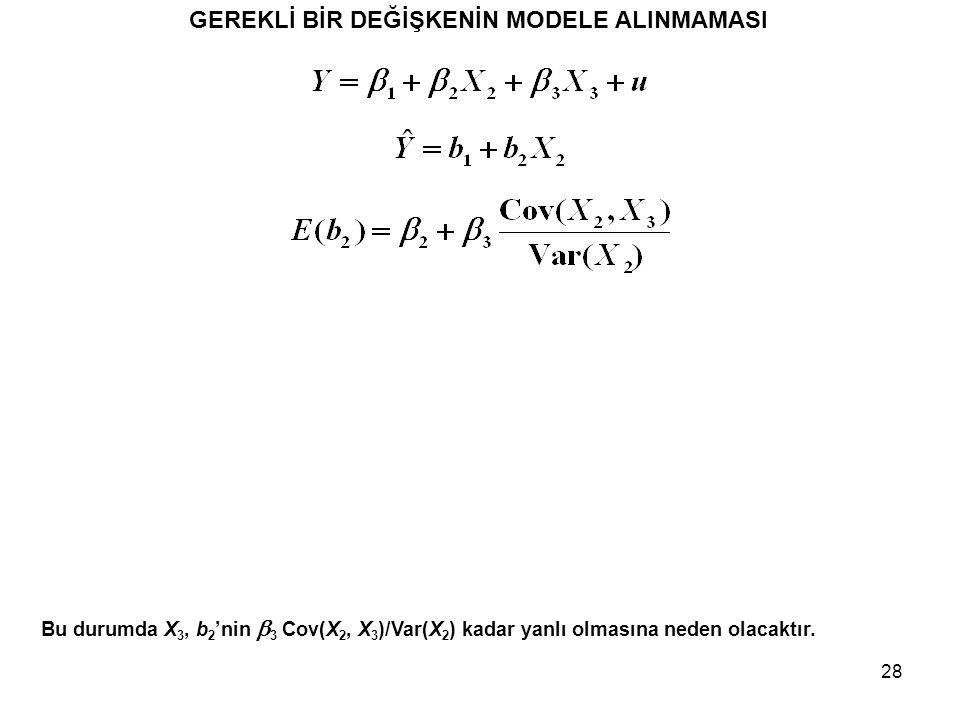 28 GEREKLİ BİR DEĞİŞKENİN MODELE ALINMAMASI Bu durumda X 3, b 2 'nin  3 Cov(X 2, X 3 )/Var(X 2 ) kadar yanlı olmasına neden olacaktır.