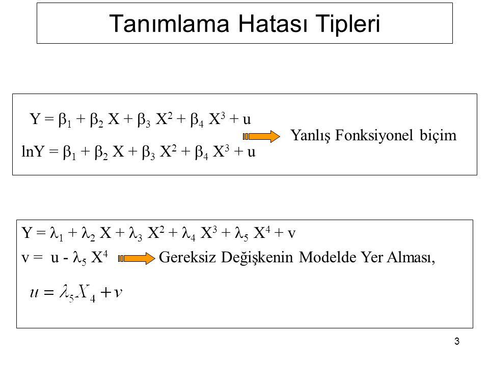 3 Tanımlama Hatası Tipleri Y = 1 + 2 X + 3 X 2 + 4 X 3 + 5 X 4 + v v = u - 5 X 4 Gereksiz Değişkenin Modelde Yer Alması, Y =  1 +  2 X +  3 X 2 +  4 X 3 + u lnY =  1 +  2 X +  3 X 2 +  4 X 3 + u Yanlış Fonksiyonel biçim