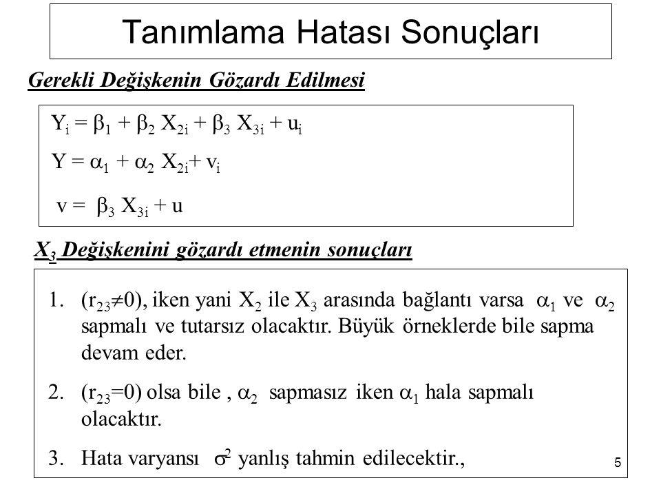 5 Tanımlama Hatası Sonuçları Y i =  1 +  2 X 2i +  3 X 3i + u i Y =   +  2 X 2i + v i v =  3 X 3i + u Gerekli Değişkenin Gözardı Edilmesi X 3 Değişkenini gözardı etmenin sonuçları 1.(r 23  0), iken yani X 2 ile X 3 arasında bağlantı varsa   ve  2 sapmalı ve tutarsız olacaktır.