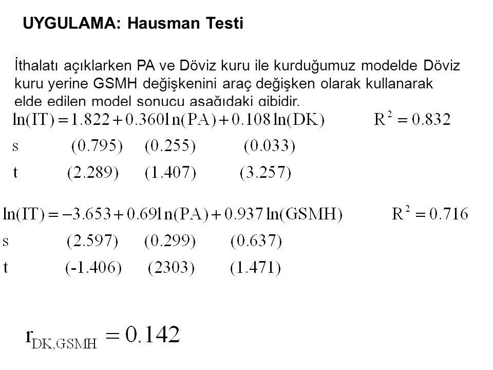 UYGULAMA: Hausman Testi İthalatı açıklarken PA ve Döviz kuru ile kurduğumuz modelde Döviz kuru yerine GSMH değişkenini araç değişken olarak kullanarak elde edilen model sonucu aşağıdaki gibidir.