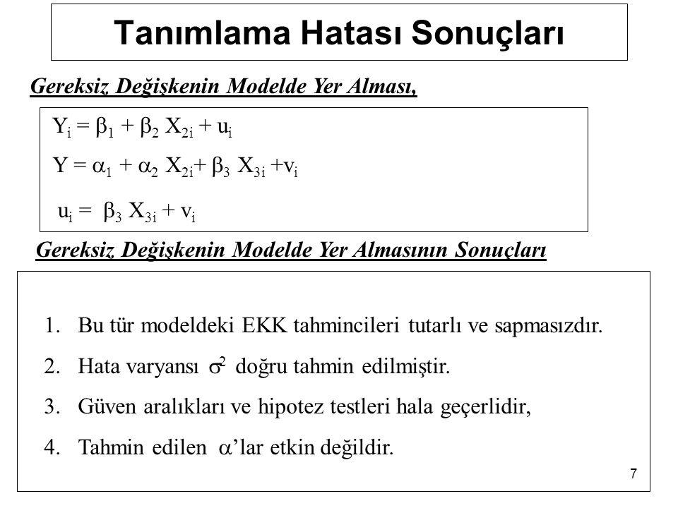 7 Tanımlama Hatası Sonuçları Y i =  1 +  2 X 2i + u i Y =   +  2 X 2i +  3 X 3i +v i u i =  3 X 3i + v i Gereksiz Değişkenin Modelde Yer Alması, Gereksiz Değişkenin Modelde Yer Almasının Sonuçları 1.Bu tür modeldeki EKK tahmincileri tutarlı ve sapmasızdır.