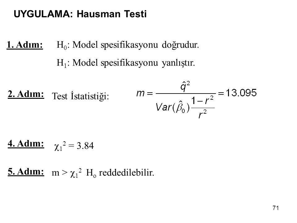 71 1.Adım: H 0 : Model spesifikasyonu doğrudur. H 1 : Model spesifikasyonu yanlıştır.