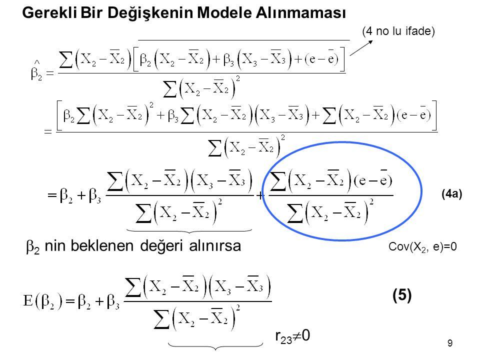 9 Gerekli Bir Değişkenin Modele Alınmaması  2 nin beklenen değeri alınırsa (5) Cov(X 2, e)=0 r 23  0 (4 no lu ifade) (4a)