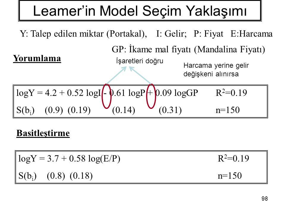 98 Leamer'in Model Seçim Yaklaşımı logY = 4.2 + 0.52 logI - 0.61 logP + 0.09 logGPR 2 =0.19 S(b i )(0.9) (0.19) (0.14) (0.31) n=150 logY = 3.7 + 0.58 log(E/P)R 2 =0.19 S(b i )(0.8) (0.18) n=150 Yorumlama Basitleştirme İşaretleri doğru Y: Talep edilen miktar (Portakal), I: Gelir; P: Fiyat E:Harcama GP: İkame mal fiyatı (Mandalina Fiyatı) Harcama yerine gelir değişkeni alınırsa