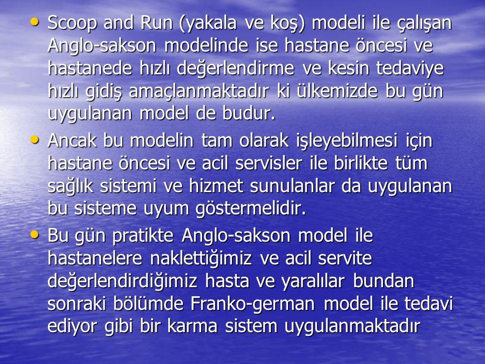 Scoop and Run (yakala ve koş) modeli ile çalışan Anglo-sakson modelinde ise hastane öncesi ve hastanede hızlı değerlendirme ve kesin tedaviye hızlı gi