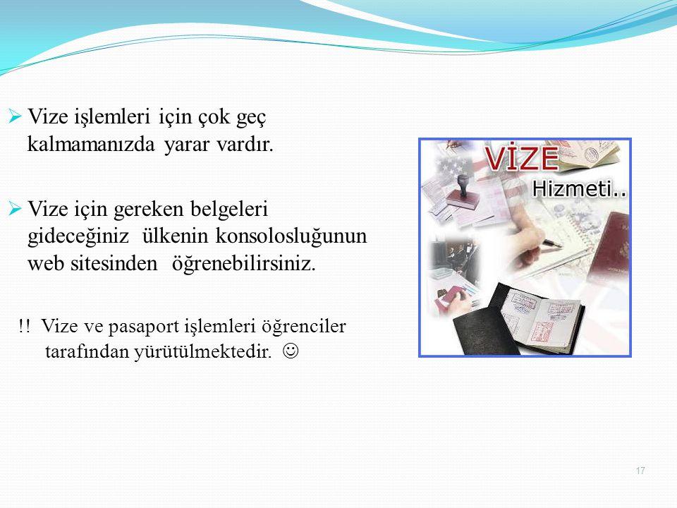  Vize işlemleri için çok geç kalmamanızda yarar vardır.  Vize için gereken belgeleri gideceğiniz ülkenin konsolosluğunun web sitesinden öğrenebilirs