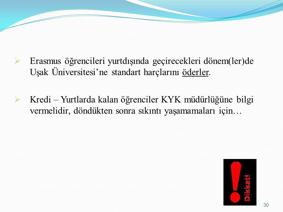  Erasmus öğrencileri yurtdışında geçirecekleri dönem(ler)de Uşak Üniversitesi'ne standart harçlarını öderler.  Kredi – Yurtlarda kalan öğrenciler KY