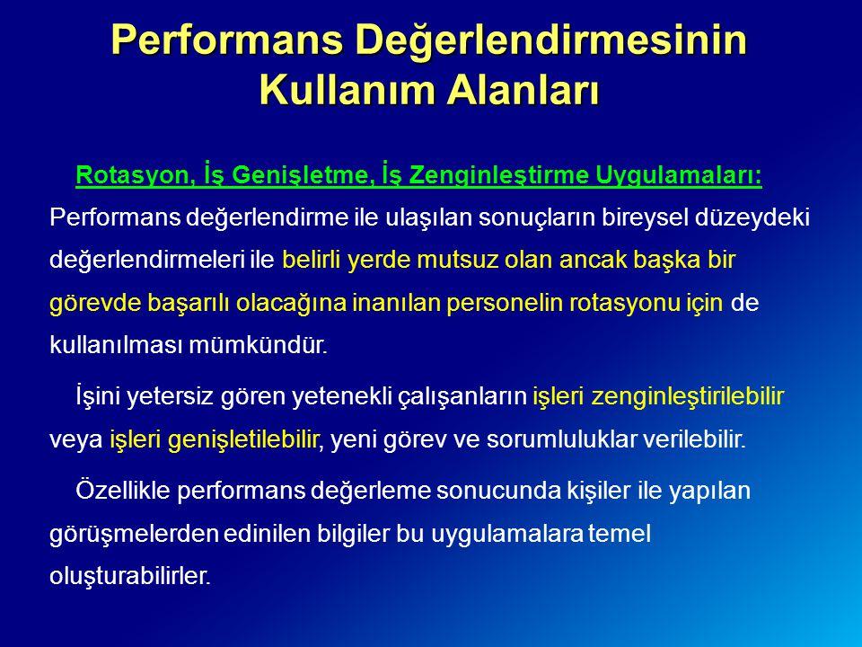 Performans Değerlendirmesinin Kullanım Alanları Rotasyon, İş Genişletme, İş Zenginleştirme Uygulamaları: Performans değerlendirme ile ulaşılan sonuçla