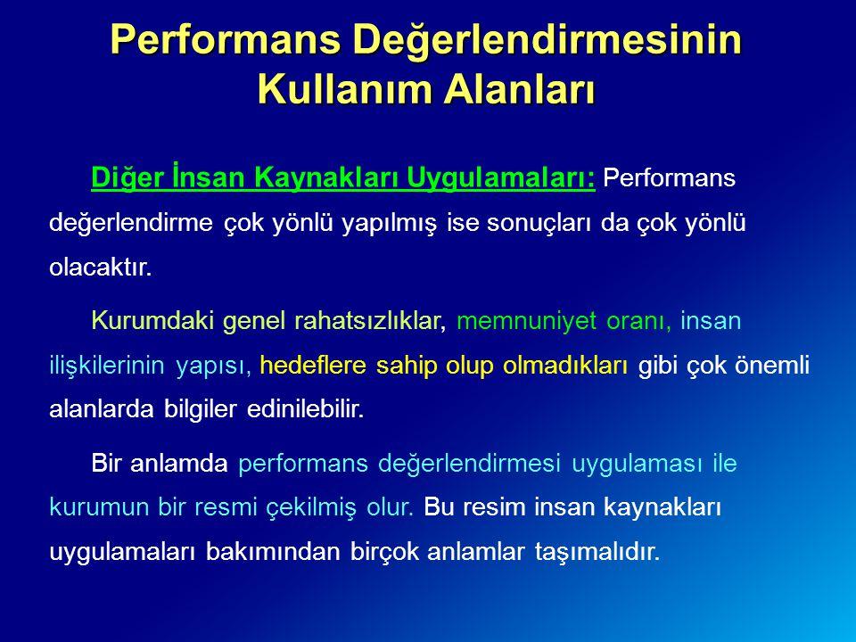 Performans Değerlendirmesinin Kullanım Alanları Diğer İnsan Kaynakları Uygulamaları: Performans değerlendirme çok yönlü yapılmış ise sonuçları da çok