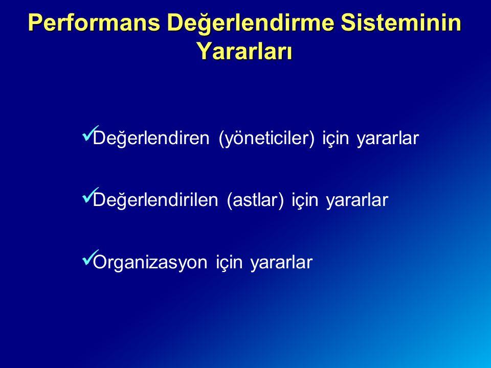 Performans Değerlendirme Sisteminin Yararları Değerlendiren (yöneticiler) için yararlar Değerlendirilen (astlar) için yararlar Organizasyon için yarar