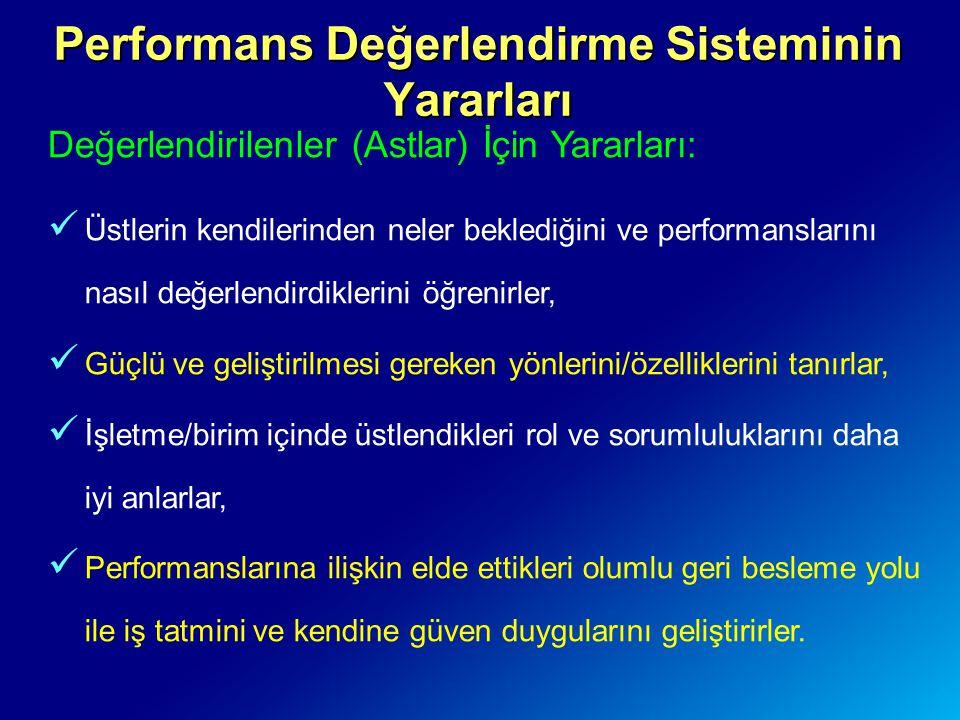 Performans Değerlendirme Sisteminin Yararları Değerlendirilenler (Astlar) İçin Yararları: Üstlerin kendilerinden neler beklediğini ve performanslarını