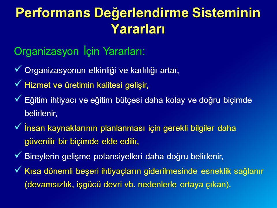 Performans Değerlendirme Sisteminin Yararları Organizasyon İçin Yararları: Organizasyonun etkinliği ve karlılığı artar, Hizmet ve üretimin kalitesi ge