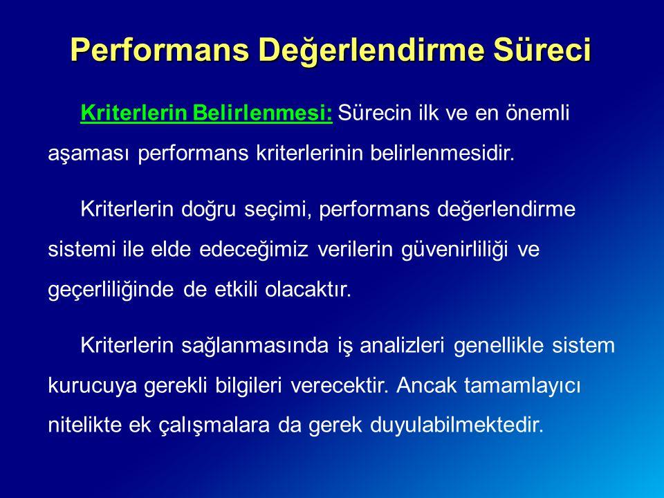 Performans Değerlendirme Süreci Kriterlerin Belirlenmesi: Sürecin ilk ve en önemli aşaması performans kriterlerinin belirlenmesidir. Kriterlerin doğru