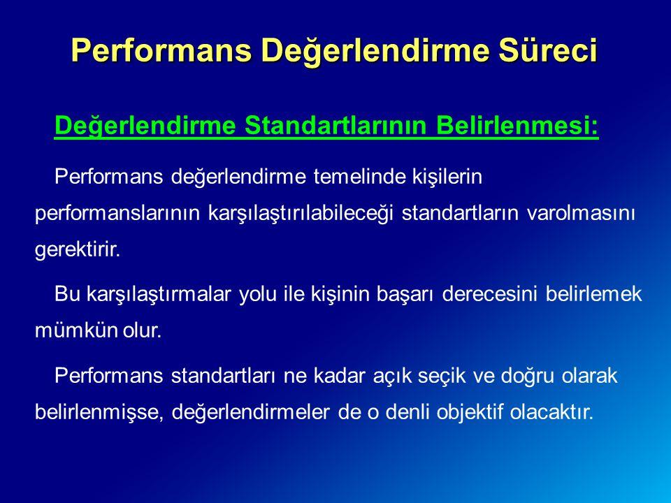Performans Değerlendirme Süreci Değerlendirme Standartlarının Belirlenmesi: Performans değerlendirme temelinde kişilerin performanslarının karşılaştır