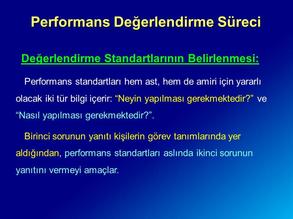 Performans Değerlendirme Süreci Değerlendirme Standartlarının Belirlenmesi: Performans standartları hem ast, hem de amiri için yararlı olacak iki tür
