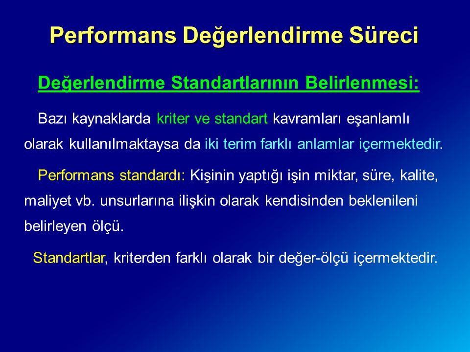 Performans Değerlendirme Süreci Değerlendirme Standartlarının Belirlenmesi: Bazı kaynaklarda kriter ve standart kavramları eşanlamlı olarak kullanılma