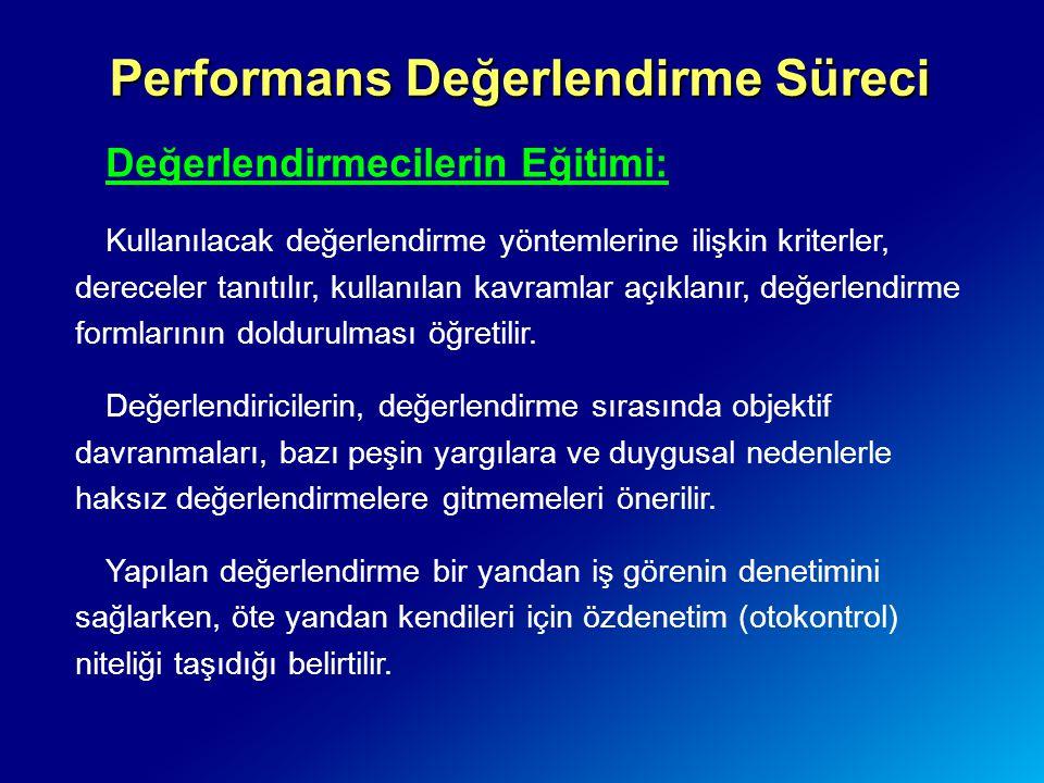 Performans Değerlendirme Süreci Değerlendirmecilerin Eğitimi: Kullanılacak değerlendirme yöntemlerine ilişkin kriterler, dereceler tanıtılır, kullanıl