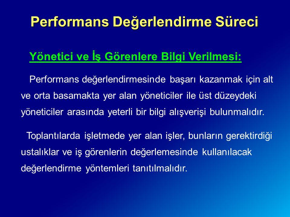 Performans Değerlendirme Süreci Yönetici ve İş Görenlere Bilgi Verilmesi: Performans değerlendirmesinde başarı kazanmak için alt ve orta basamakta yer