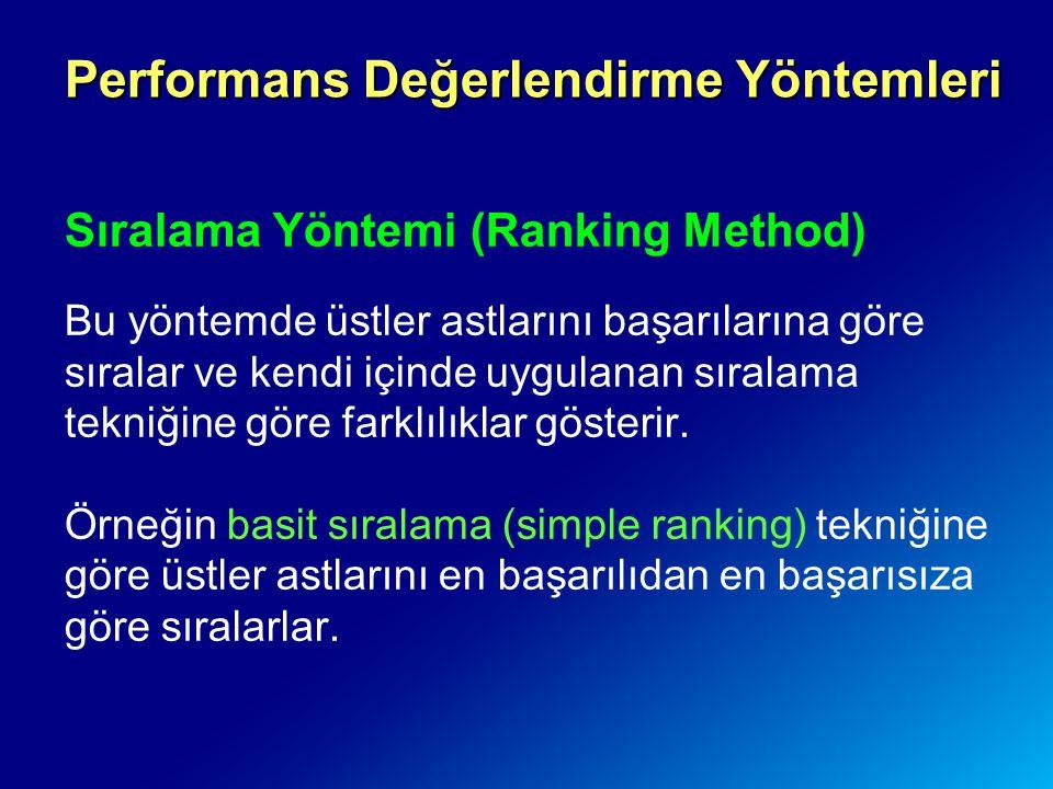 Sıralama Yöntemi (Ranking Method) Bu yöntemde üstler astlarını başarılarına göre sıralar ve kendi içinde uygulanan sıralama tekniğine göre farklılıkla