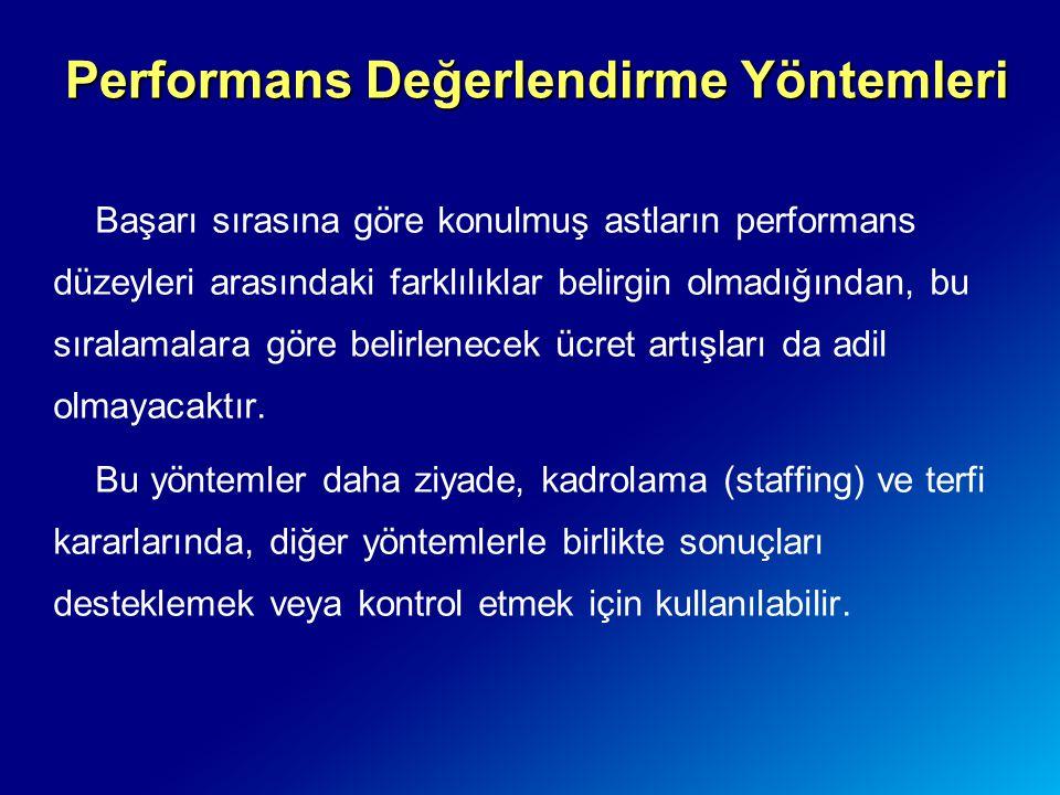 Başarı sırasına göre konulmuş astların performans düzeyleri arasındaki farklılıklar belirgin olmadığından, bu sıralamalara göre belirlenecek ücret art