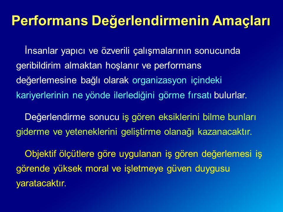 Performans Değerlendirmenin Amaçları İnsanlar yapıcı ve özverili çalışmalarının sonucunda geribildirim almaktan hoşlanır ve performans değerlemesine b