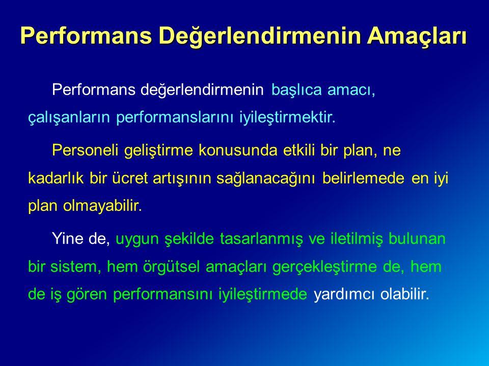 Performans Değerlendirmenin Amaçları Performans değerlendirmenin başlıca amacı, çalışanların performanslarını iyileştirmektir. Personeli geliştirme ko