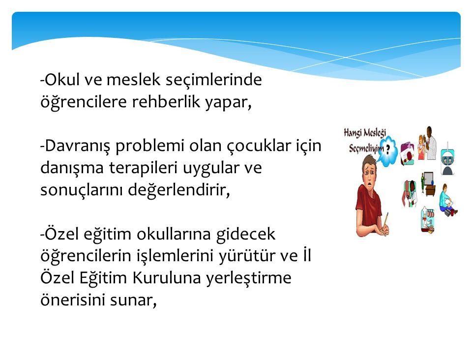 -Okul ve meslek seçimlerinde öğrencilere rehberlik yapar, -Davranış problemi olan çocuklar için danışma terapileri uygular ve sonuçlarını değerlendiri